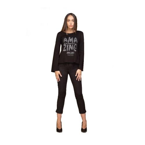 Μαύρο ριγέ παντελόνι Hype Exclusive